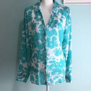 Worthington- Clear Blue Floral Print Blouse